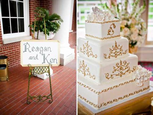 Gold and white wedding cake and wedding sign