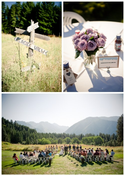 mountain meadow ceremony, wooden sign, and purple rose centerpieces