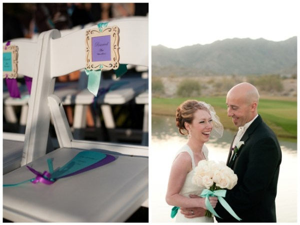 purple and turquoise wedding ceremony fans