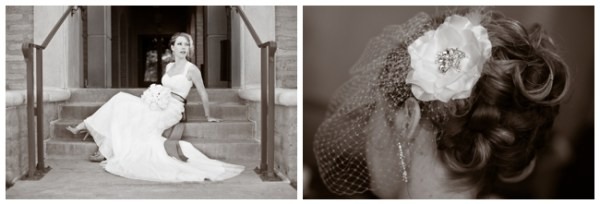 bridal hair with birdcage veil