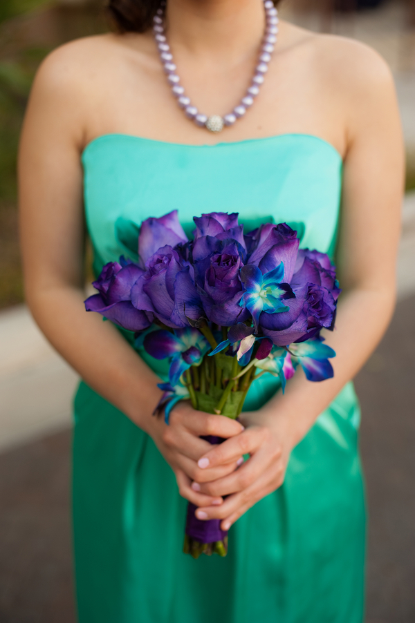 turquoise dress and purple bouquet