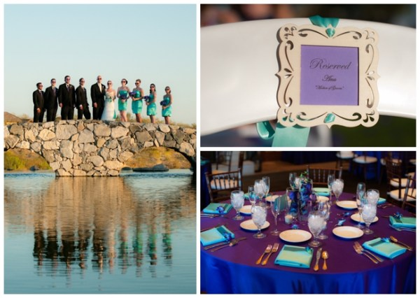 purple and turquoise table settings