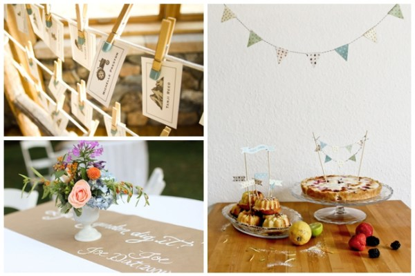 kraft paper runner, bunting flags on cake