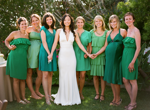 green mix and match bridesmaid dresses
