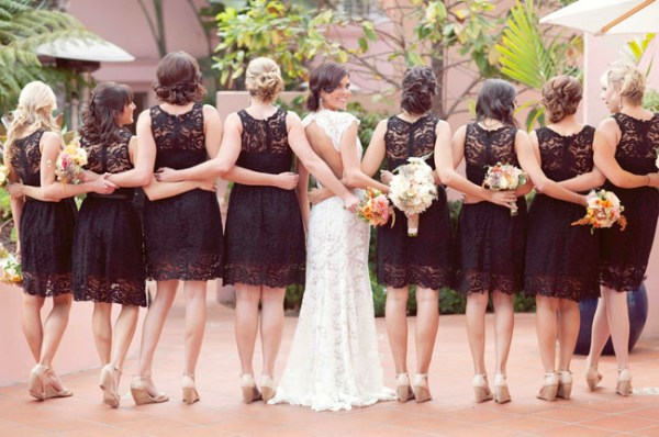 brown lace bridesmaids dresses