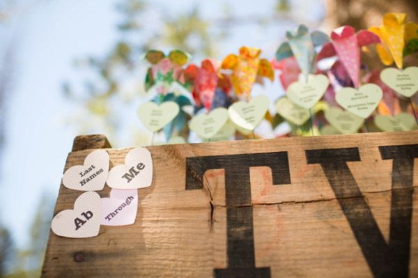 wooden crate with origami flowers