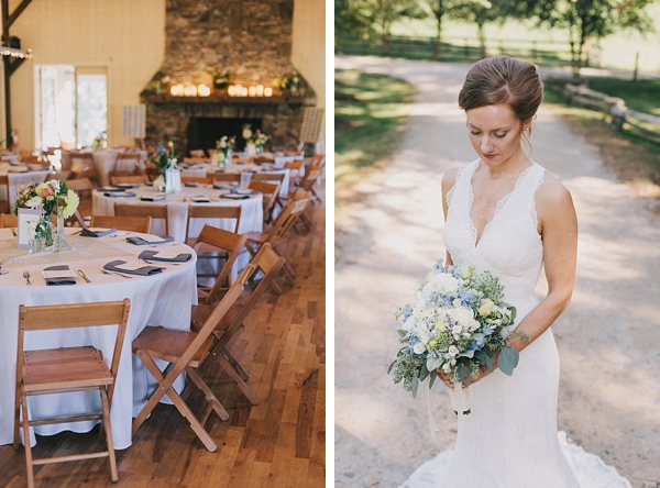 wedding venue with fireplace and rustic elegant bride