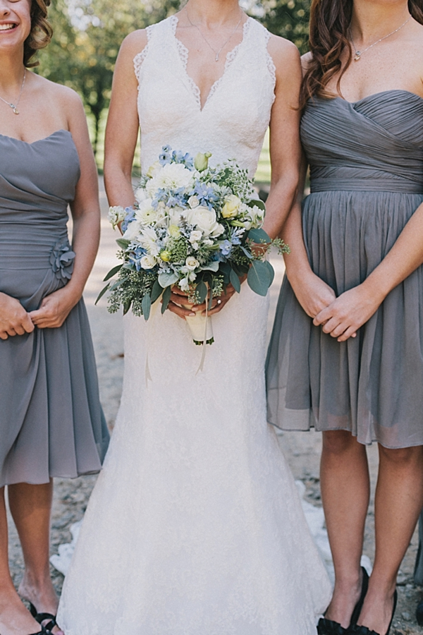 blue and white rustic elegant bouquet and gray bridesmaids dresses