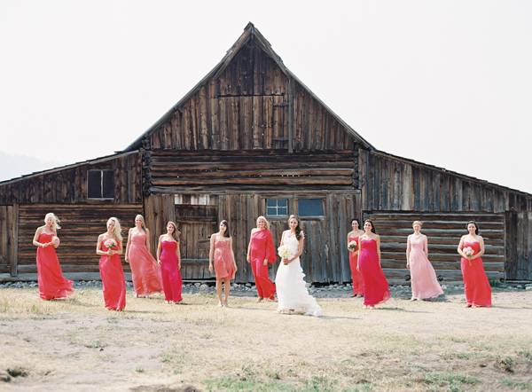 rustic peach and coral Jackson hole wedding