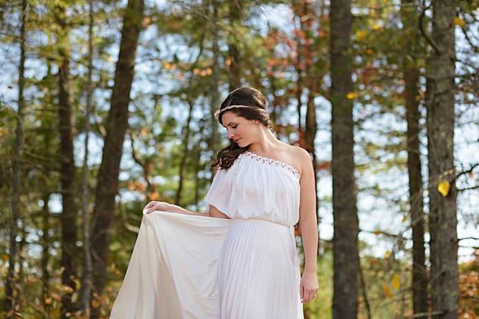 bride with greek inspired wedding gown from http://mountainsidebride.com