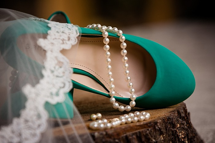 green wedding shoes western North Carolina handmade wedding by Shutter Love Photography