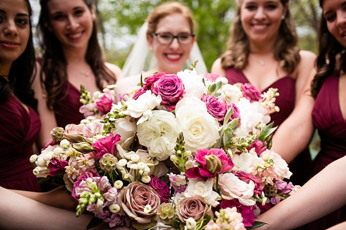 bridesmaids in maroon dresses with bouquets western North Carolina handmade wedding by Shutter Love Photography