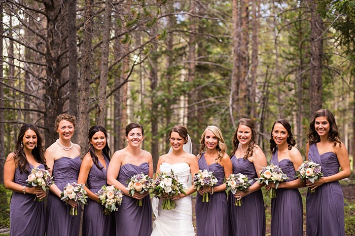 bridesmaids in purple dresses   Breckenridge wedding at 10 Mile station  INphotography