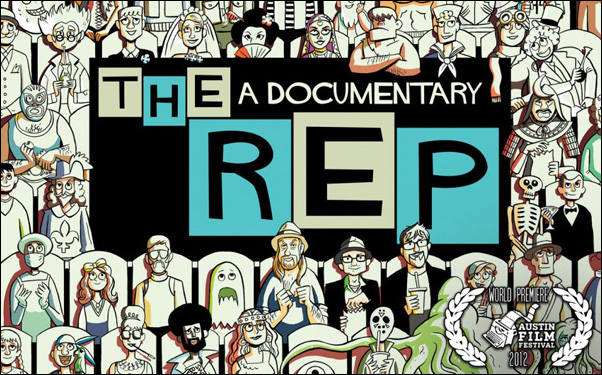 Alex Woodside, Nigel Agnew and Charlie Lewton in Morgan White's documentary The Rep