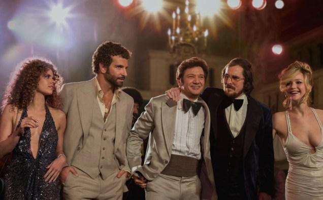 "Amy Adams, Bradley Cooper, Jeremy Renner, Christian Bale and Jennifer Lawrence in ""American Hustle"""