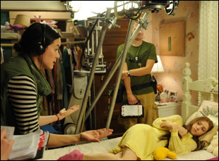 "Jenee LaMarque and Zoe Kazan on the set of ""The Pretty One"""
