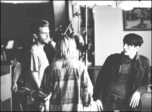 "Collin Schiffli on the set of ""Animals"" with David Dastmalchian and Kim Shaw"