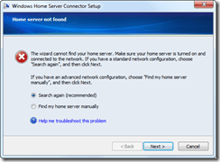 cannot locate the home server