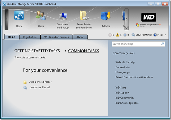 Windows Storage Server 2008 R2 Dashboard