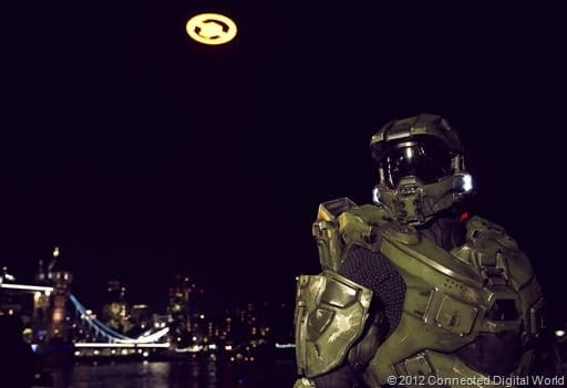 """LONDON – November 5th2012;Master Chief joins fans by Tower Bridge in London for the spectacular flight of the """"Halo 4"""" Glyph to celebrate it's highly anticipated launch on Xbox 360. The """"Halo 4"""" Glyph symbol is one of the largest and brightest man-made structures to ever fly over a capital city and measures 50 feet in diameter and weighs over three tons. At Tower Bridge on November 5th2012 in London."""