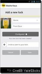 Yale NFC Mobile Keys Interface Screen