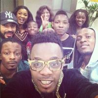 See Patoranking & Omotola Jalade's Pose in Golden Selfie Taken in SA