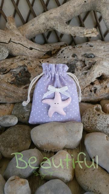 Μπομπονιέρα για κορίτσι. Μπομπονιέρα βάπτισης κορίτσι πουγκί, υφασμάτινο πουά με διακοσμητικό αστερία ροζ χειροποίητο.