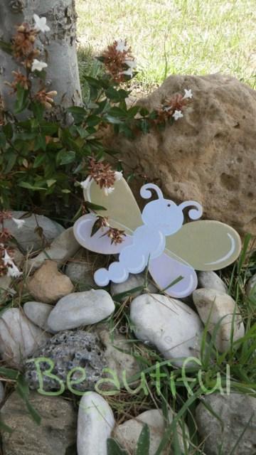 Μπομπονιέρα βάπτισης κορίτσι, ξύλινη πεταλούδα χειροποίητο.