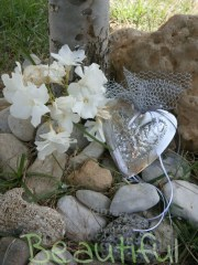 Μπομπονιέρα Γάμου, καρδιά σφυρήλατη ασημί με φούντα χειροποίητο.