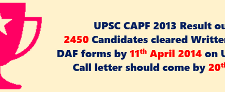 CAPF 2013 Written Result outline
