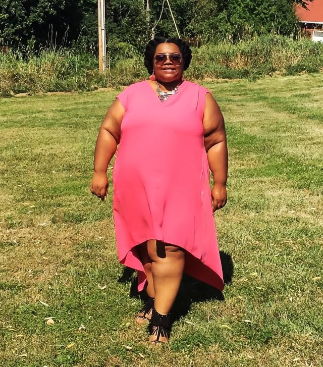 Pretty In Pink Plus Sized HiLo Rachel Roy Dresss