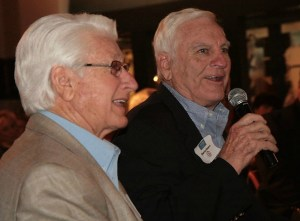 Charlie Flowers, right, with teammate Bobby Franklin at 2013 celebration of the 1959 team at the MSHOF.