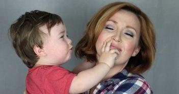 Mother & Son. Loving Embrace. Headshot session with Actress Jennica Schwartzman, photobomb by Freemont Schwartzman
