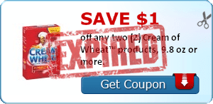 Save $1.00 off any two (2) Cream of Wheat™ products, 9.8 oz or more.