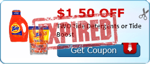 $1.50 off TWO Tide Detergents or Tide Boost