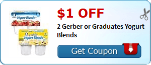 $1.00 off 2 Gerber or Graduates Yogurt Blends