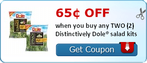 65¢ off when you buy any TWO (2) Distinctively Dole® salad kits