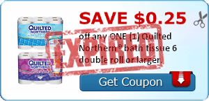 SAVE $0.25 off any ONE (1) Quilted Northern® bath tissue 6 double roll or larger.