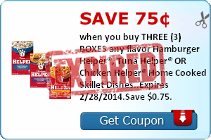Save 75¢ when you buy THREE (3) BOXES any flavor Hamburger Helper®, Tuna Helper® OR Chicken Helper® Home Cooked Skillet Dishes..Expires 2/28/2014.Save $0.75.