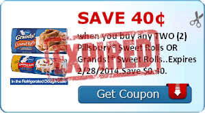 Save 40¢ when you buy any TWO (2) Pillsbury® Sweet Rolls OR Grands!® Sweet Rolls..Expires 2/28/2014.Save $0.40.