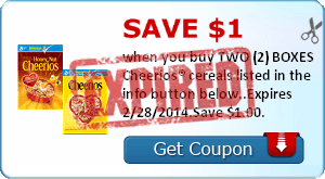 Save $1.00 when you buy TWO (2) BOXES Cheerios® cereals listed in the info button below..Expires 2/28/2014.Save $1.00.