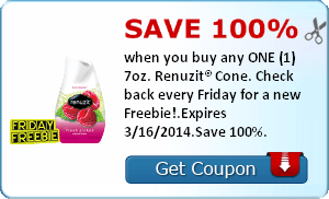 Save 100% when you buy any ONE (1) 7oz. Renuzit® Cone. Check back every Friday for a new Freebie!.Expires 3/16/2014.Save 100%.