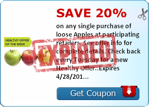 Save 20% on any single purchase of loose Apples at participating retailers. See offer info for complete details. Check back every Tuesday for a new Healthy Offer..Expires 4/28/2014.Save 20%.