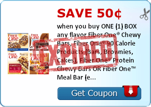 Save 50¢ when you buy ONE (1) BOX any flavor Fiber One® Chewy Bars, Fiber One® 90 Calorie Products (Bars, Brownies, Cakes), Fiber One® Protein Chewy Bars OR Fiber One™ Meal Bar (excludes Fiber One™ Streusel Bars)..Expires 6/30/2014.Save $0.50.