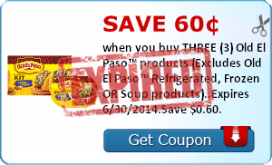 Save 60¢ when you buy THREE (3) Old El Paso™ products (Excludes Old El Paso™ Refrigerated, Frozen OR Soup products)..Expires 6/30/2014.Save $0.60.