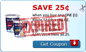 Save 25¢ when you buy any ONE (1) flavor 32 OZ. or 64 OZ. Mountain High® yoghurt..Expires 6/30/2014.Save $0.25.