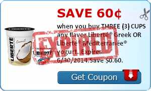 Save 60¢ when you buy THREE (3) CUPS any flavor Liberté® Greek OR Liberté® Méditerranée® yogurt..Expires 6/30/2014.Save $0.60.