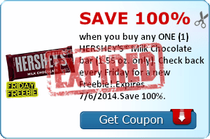 Save 100% when you buy any ONE (1) HERSHEY'S® Milk Chocolate bar (1.55 oz. only). Check back every Friday for a new Freebie!.Expires 7/6/2014.Save 100%.