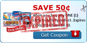 Save 50¢ when you buy any ONE (1) Little Debbie® product..Expires 7/30/2014.Save $0.50.
