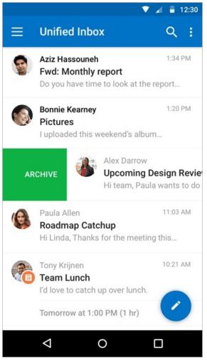 Outlook для Android входящие